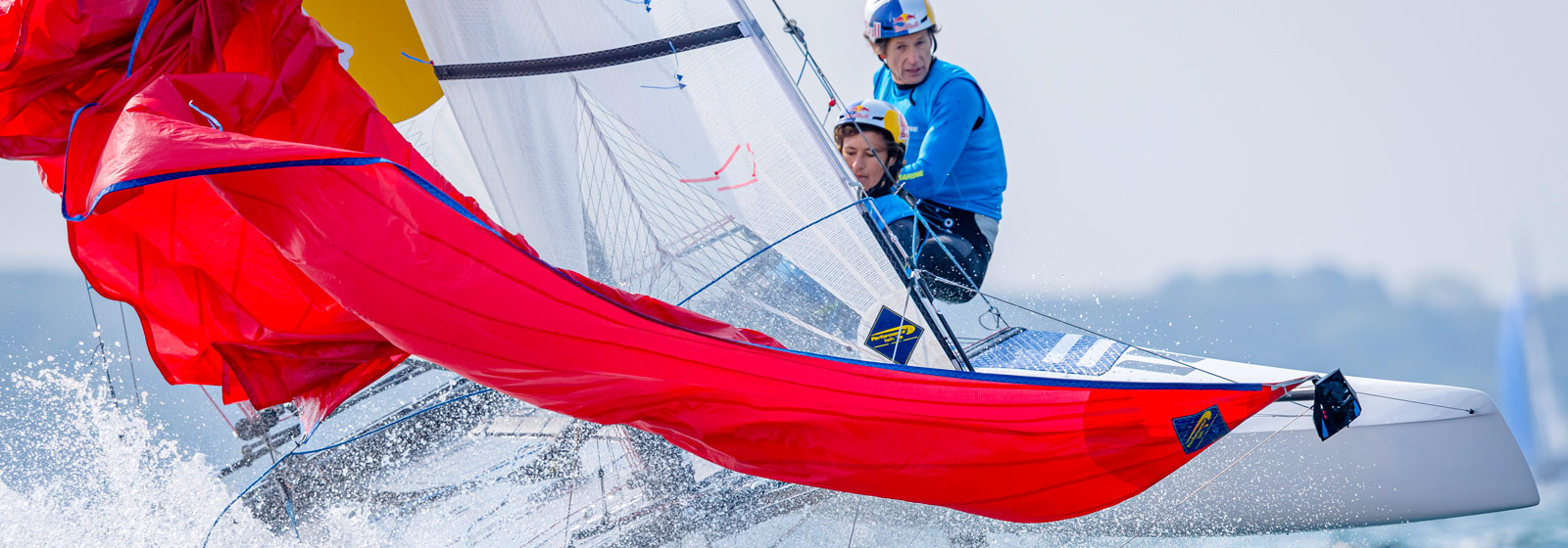 Two sailors on a Nacra 17